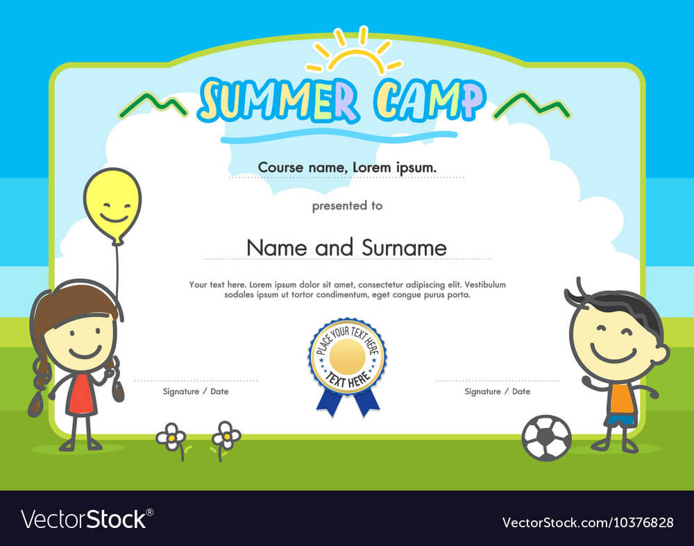 Kids Summer Camp Certificate Document Template intended for Summer Camp Certificate Template