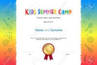 Kids Summer Camp Diploma Or Certificate Template Award Seal With.. for Summer Camp Certificate Template