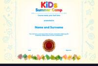 Kids Summer Camp Diploma Or Certificate Template inside Summer Camp Certificate Template