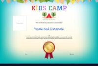 Kids Summer Camp Diploma Or Certificate Template pertaining to Summer Camp Certificate Template