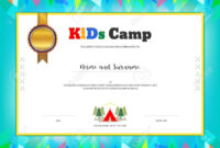 Kids Summer Camp Diploma Or Certificate Template With Colorful.. for Summer Camp Certificate Template