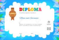 Kids Summer Camp Diploma Or Certificate Template With Photo And.. for Summer Camp Certificate Template