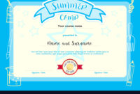 Kids Summer Camp Document Certificate Template in Swimming Certificate Templates Free