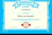 Kids Summer Camp Document Certificate Template with regard to Summer Camp Certificate Template