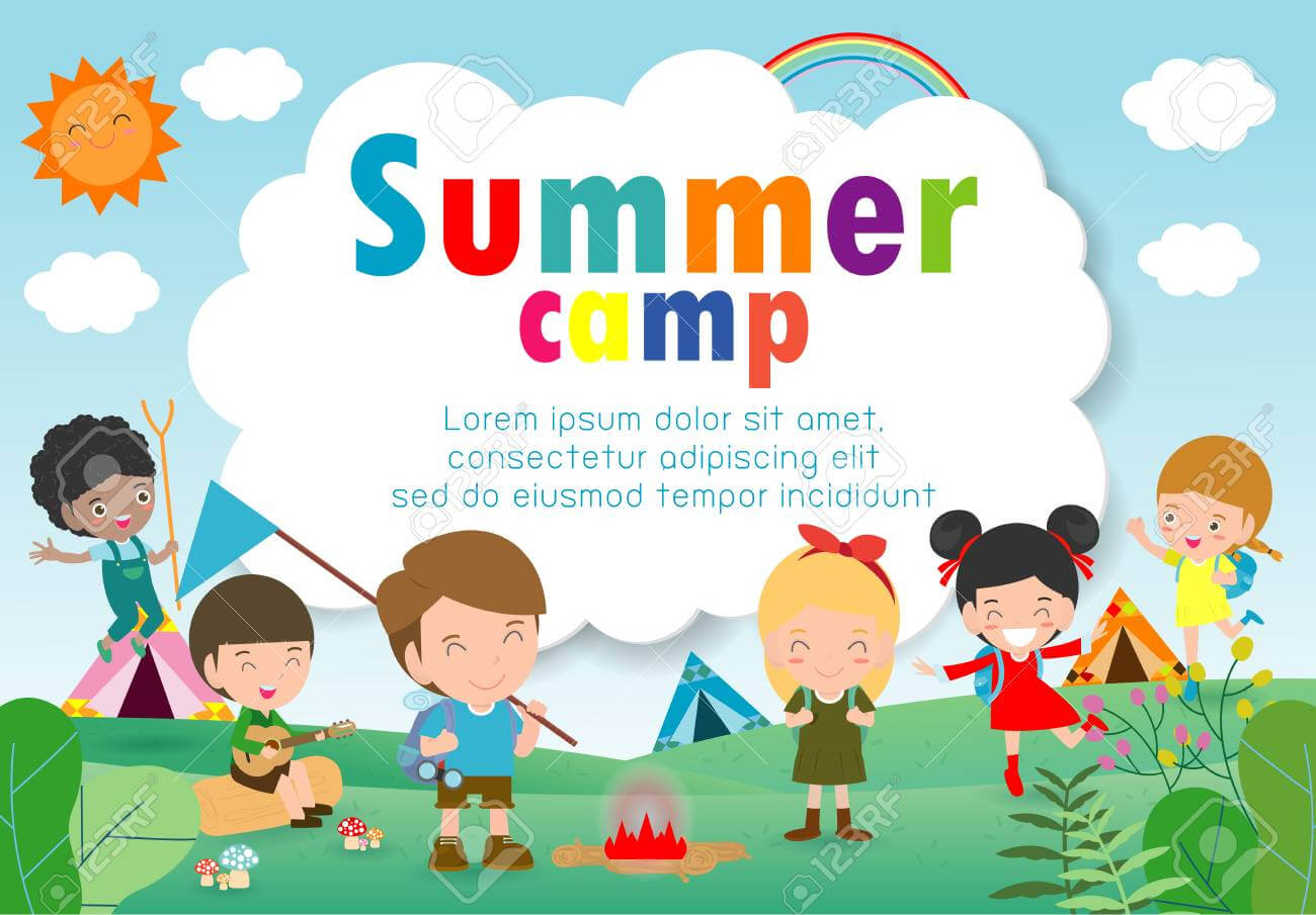 Kids Summer Camp Education Template For Advertising Brochure,.. within Summer Camp Brochure Template Free Download