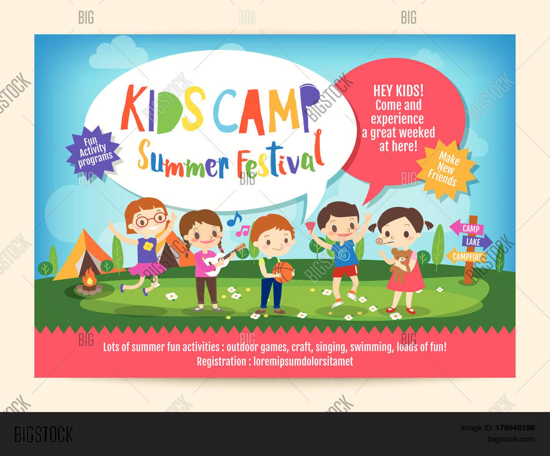 Kids Summer Camp Vector & Photo (Free Trial)   Bigstock regarding Summer Camp Brochure Template Free Download