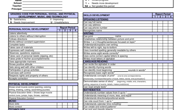 Kindergarten Report Card Template Free Preschool Conference within Kindergarten Report Card Template