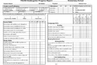 Kindergarten Social Skills Progress Report Blank Templates with Report Card Format Template