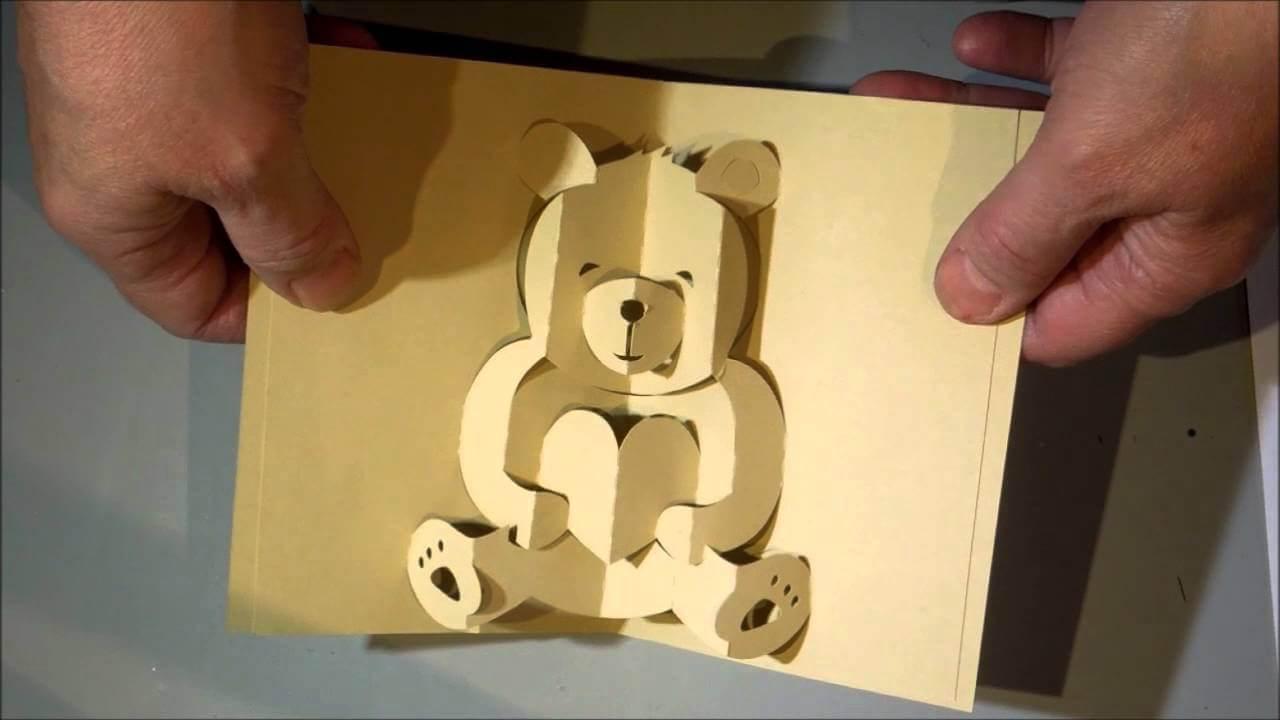 Kirigami Bear Pop Up Card intended for Teddy Bear Pop Up Card Template Free