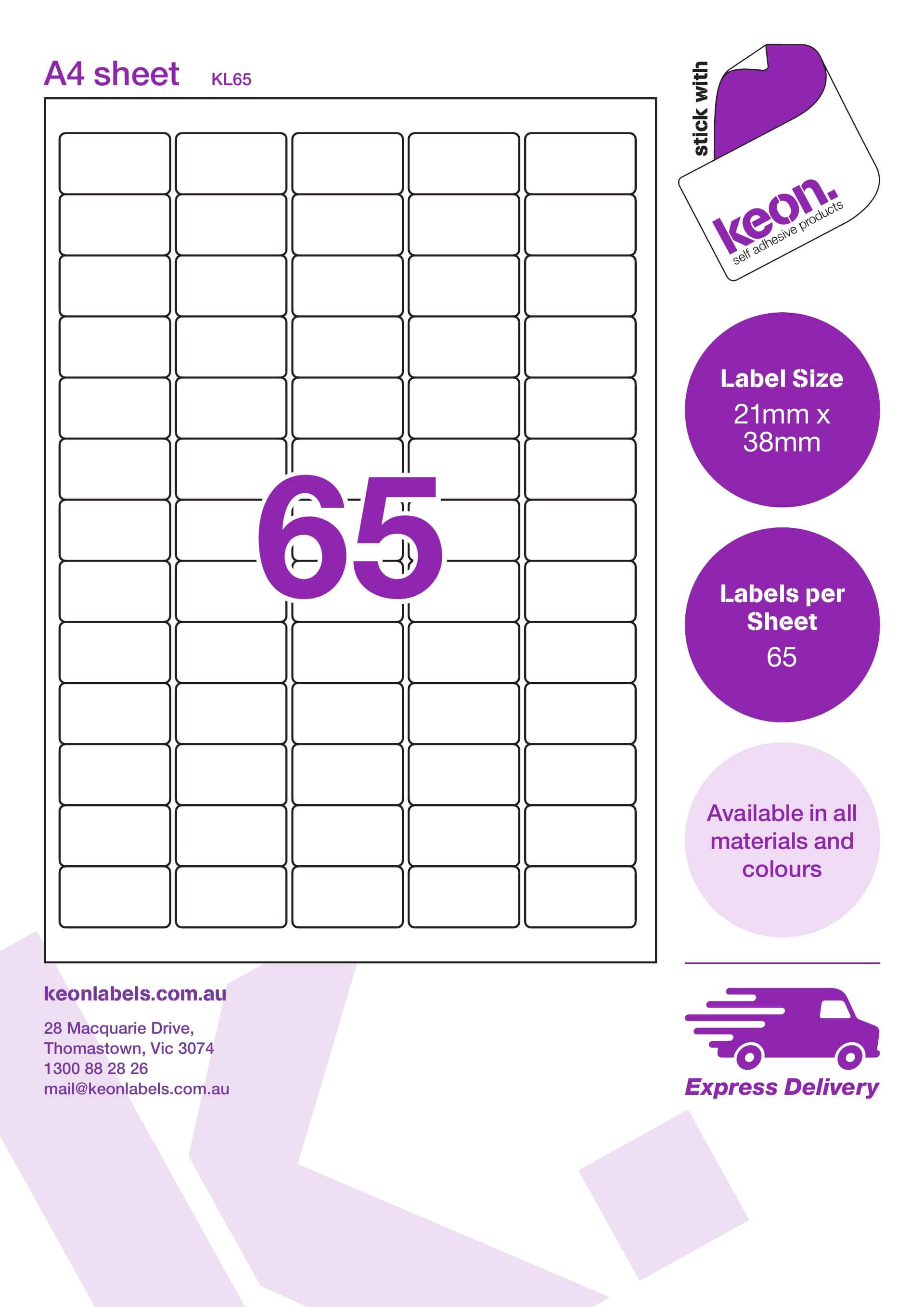 Kl65 21 X 38 R78 throughout Label Template 21 Per Sheet Word