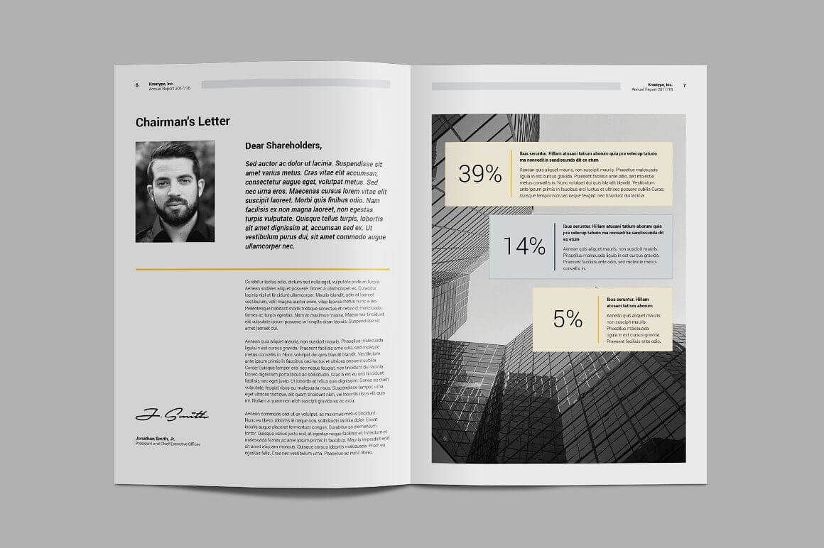 Kreatype Annual Report #files#idml#easy#character | Graphics within Chairman's Annual Report Template
