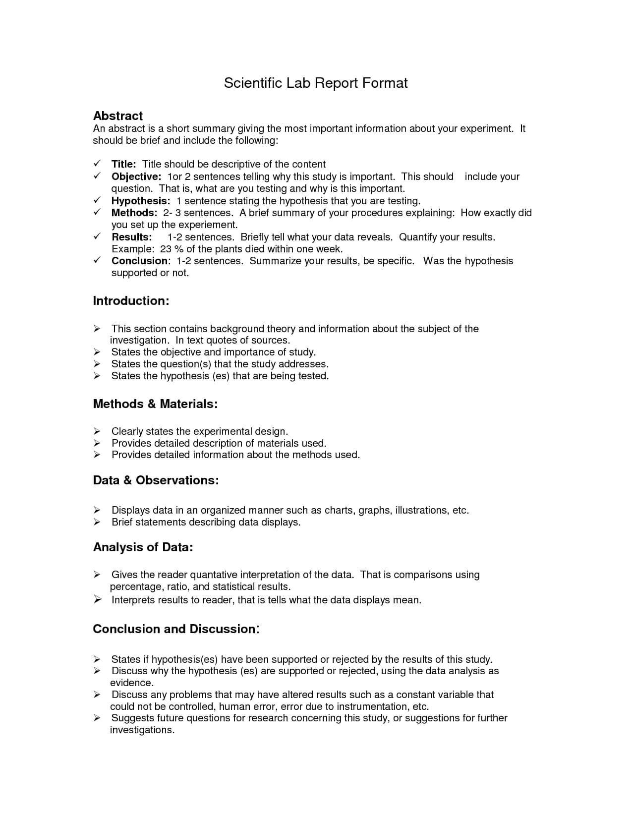 Lab Report Format Doc | Lab Report, Lab Report Template inside Lab Report Conclusion Template