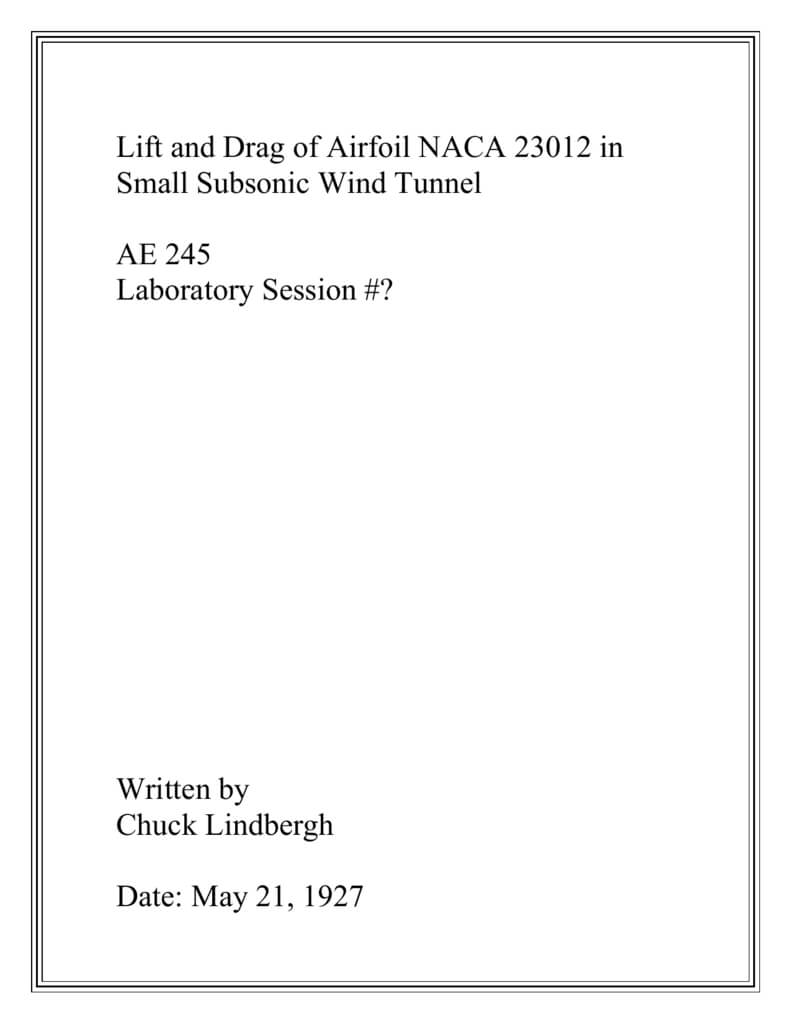 Lab Report Template - Aerospace Engineering for Engineering Lab Report Template