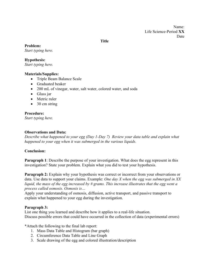 Lab Report Template throughout Lab Report Conclusion Template