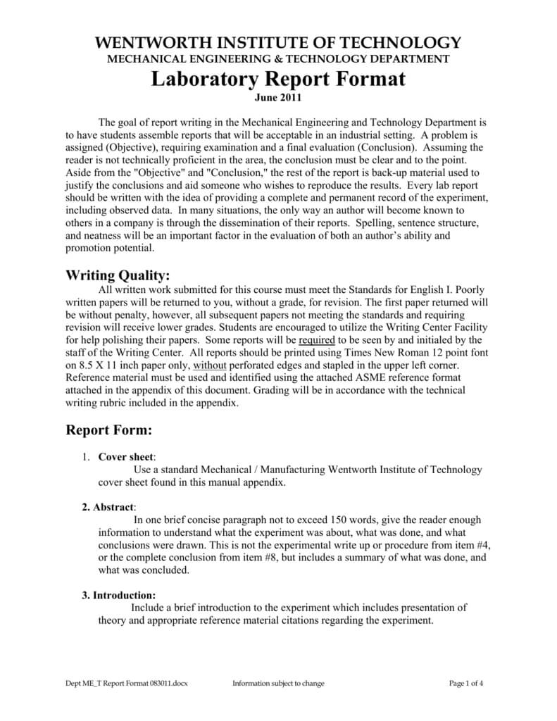 Laboratory Report Format with Engineering Lab Report Template