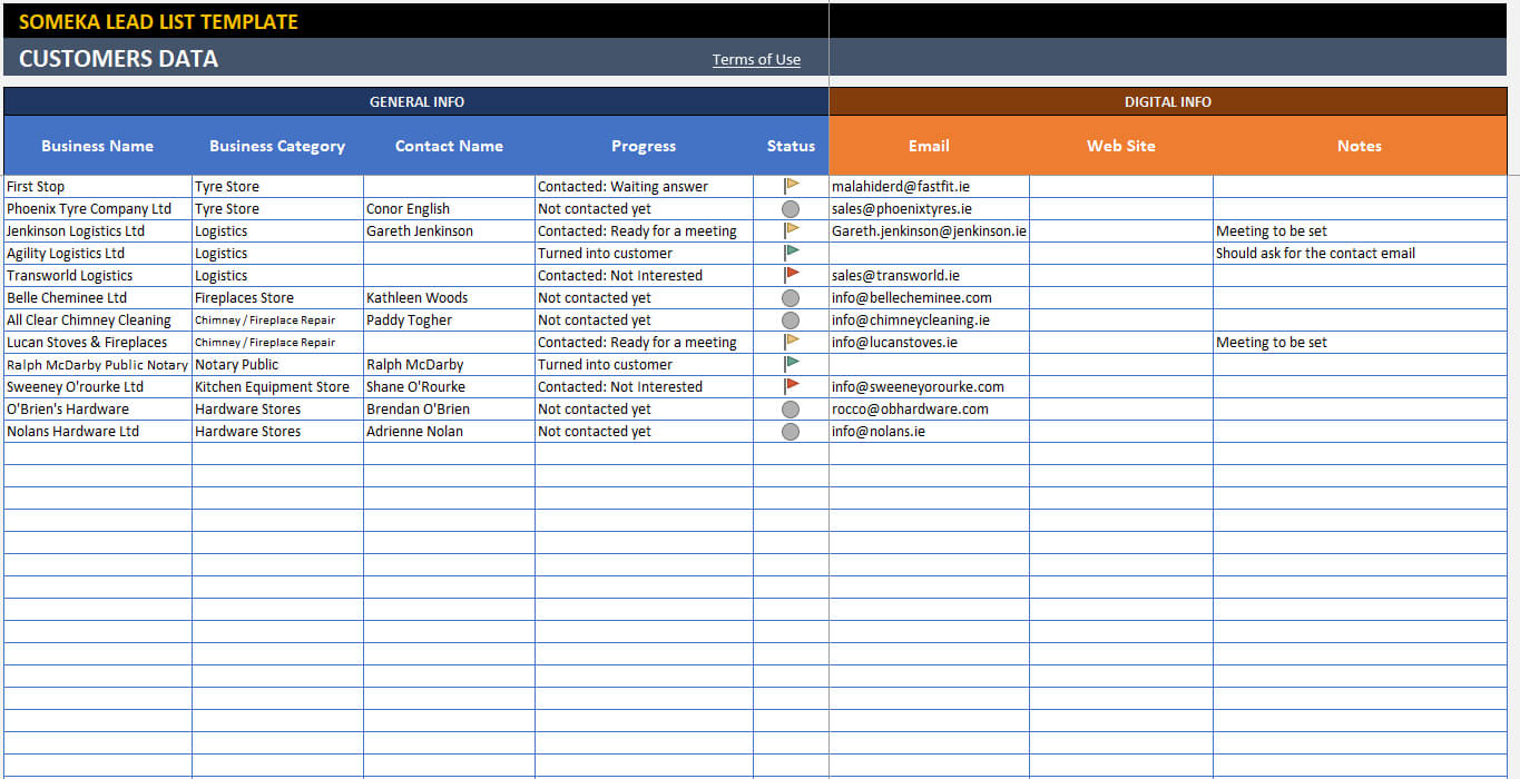 Lead List Template with Sales Lead Report Template
