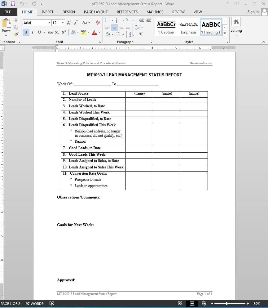 Lead Management Status Report Template | Mt1050 3 Pertaining To Sales Lead Report Template
