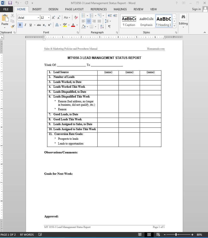 Lead Management Status Report Template | Mt1050 3 Regarding Sales Management Report Template