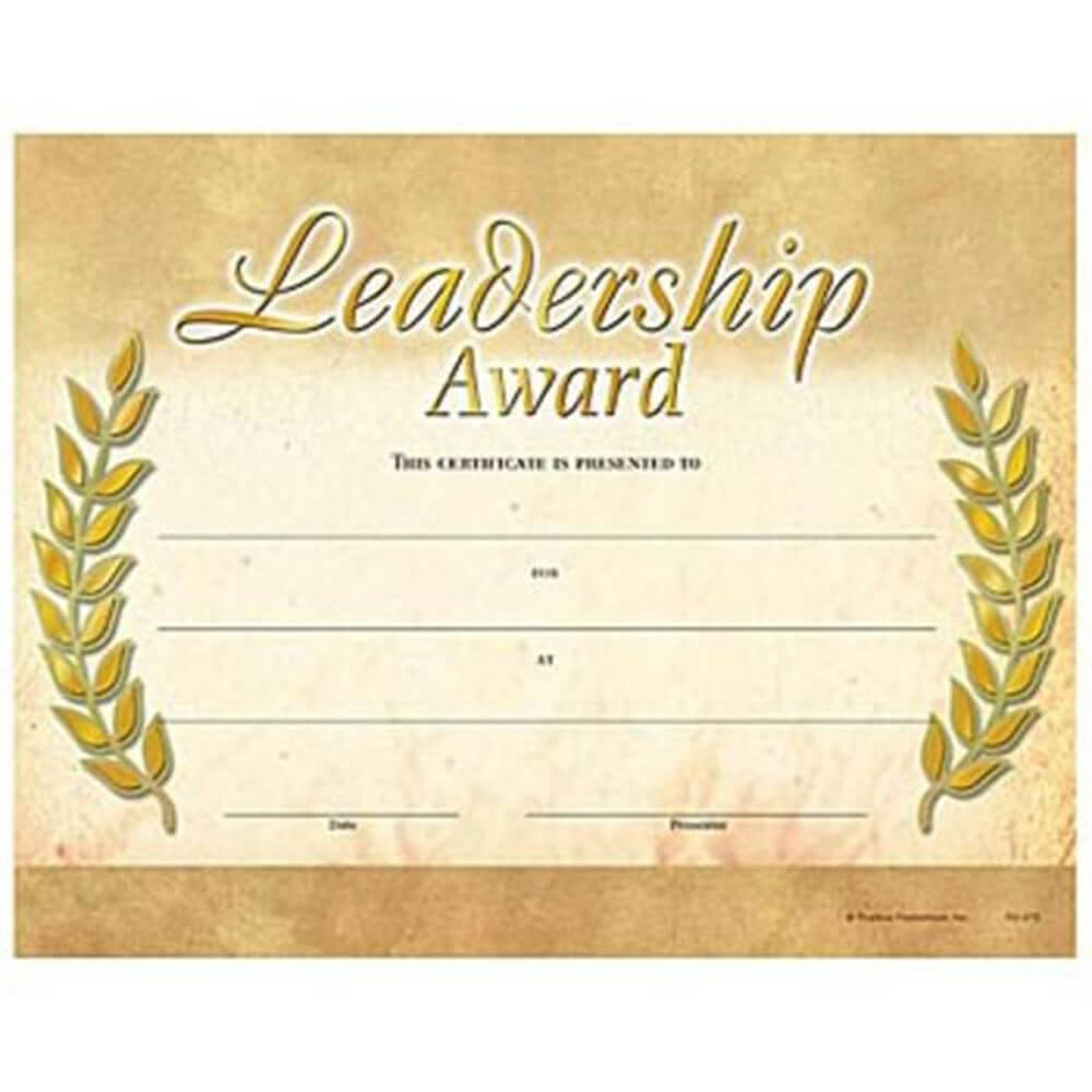 Leadership Award Gold Foil-Stamped Certificates throughout Leadership Award Certificate Template