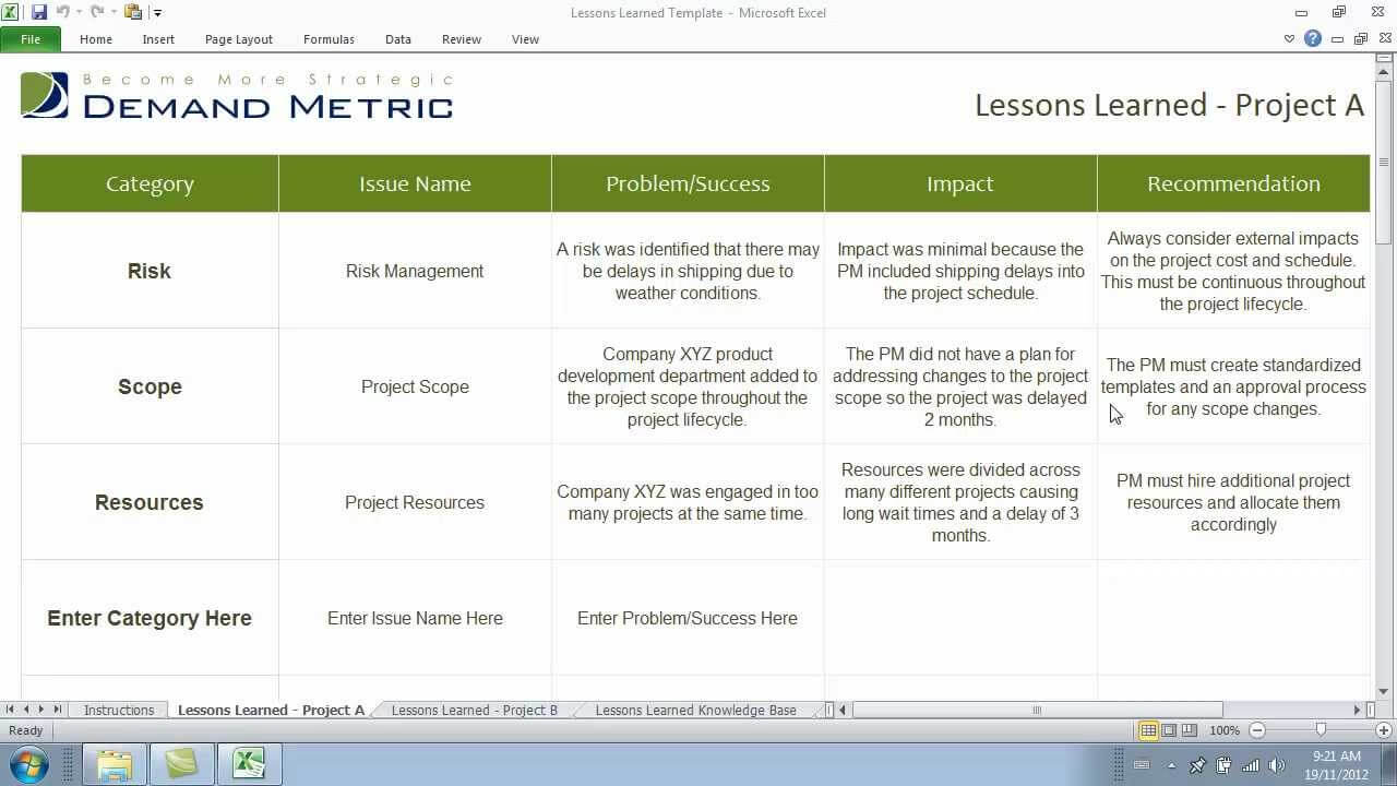 Lessons Learned Template pertaining to Lessons Learnt Report Template