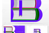 Letter B Logo Design Template. Letter B Made Of Books. Colorful.. pertaining to Library Catalog Card Template