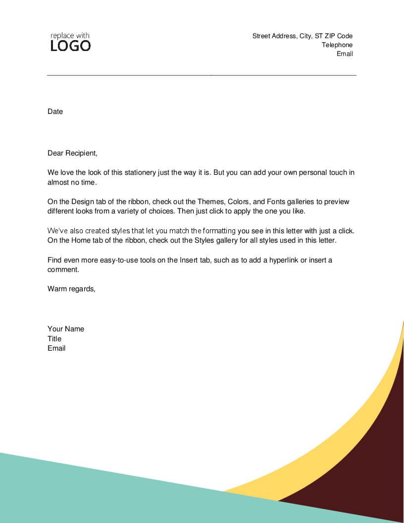 Letter (Oriel Theme) In Headed Letter Template Word
