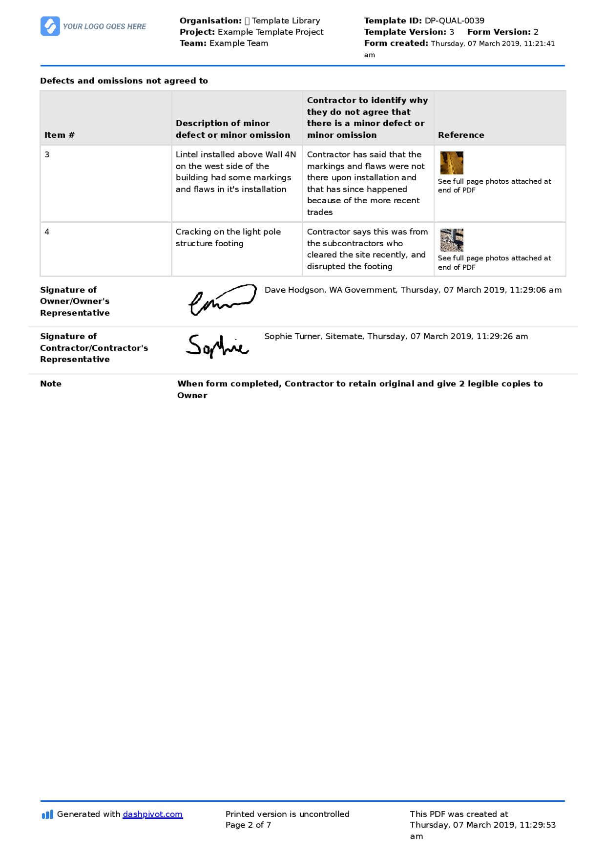 Letter To Contractor For Defective Work: Sample Letter And with regard to Building Defect Report Template