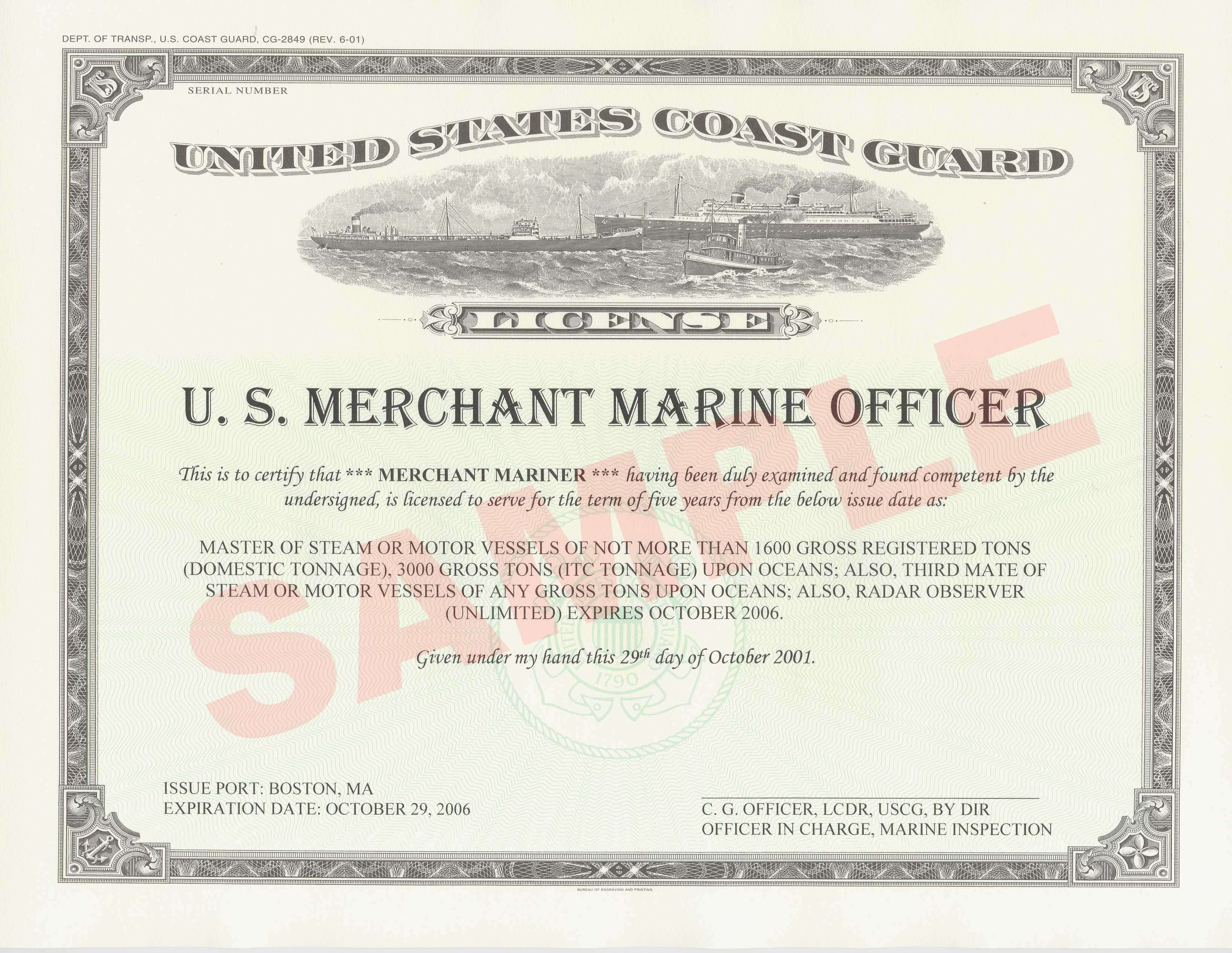 Licensed Mariner - Wikipedia inside Certificate Of License Template