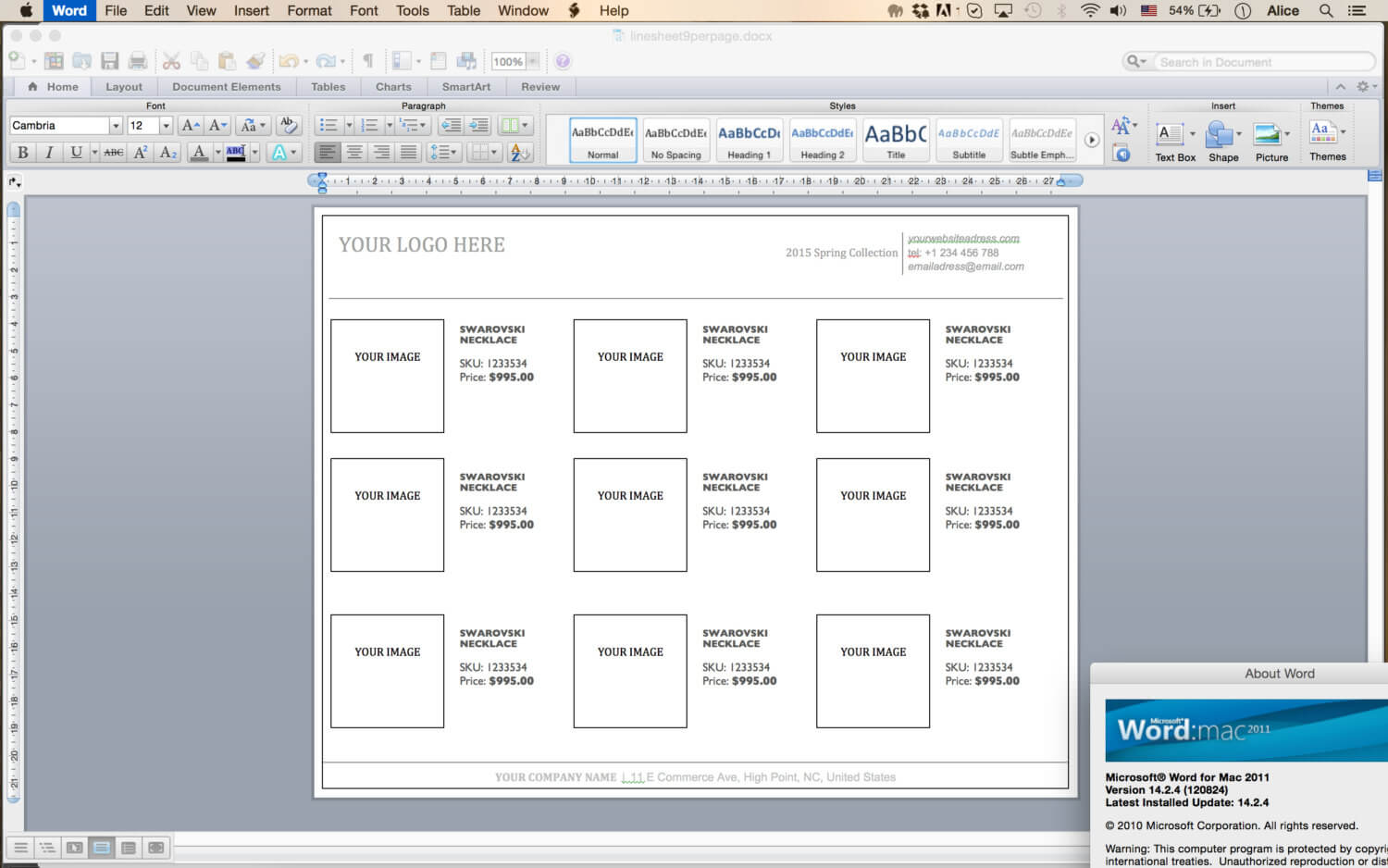 Line Sheet - Id11 for Word Catalogue Template
