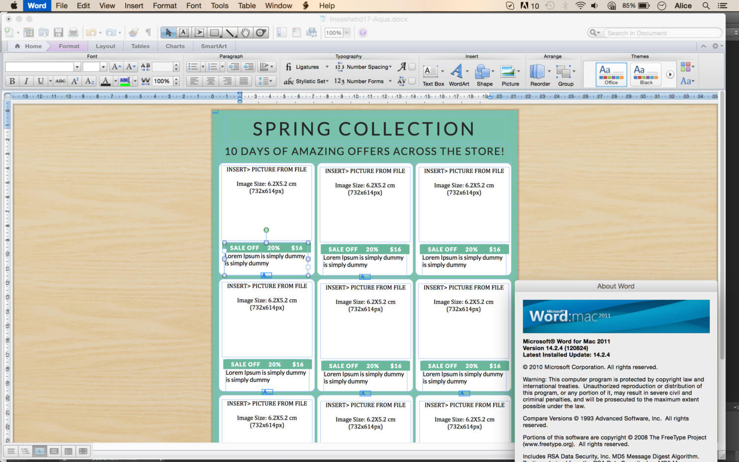 Line Sheet - Id17 in Word Catalogue Template