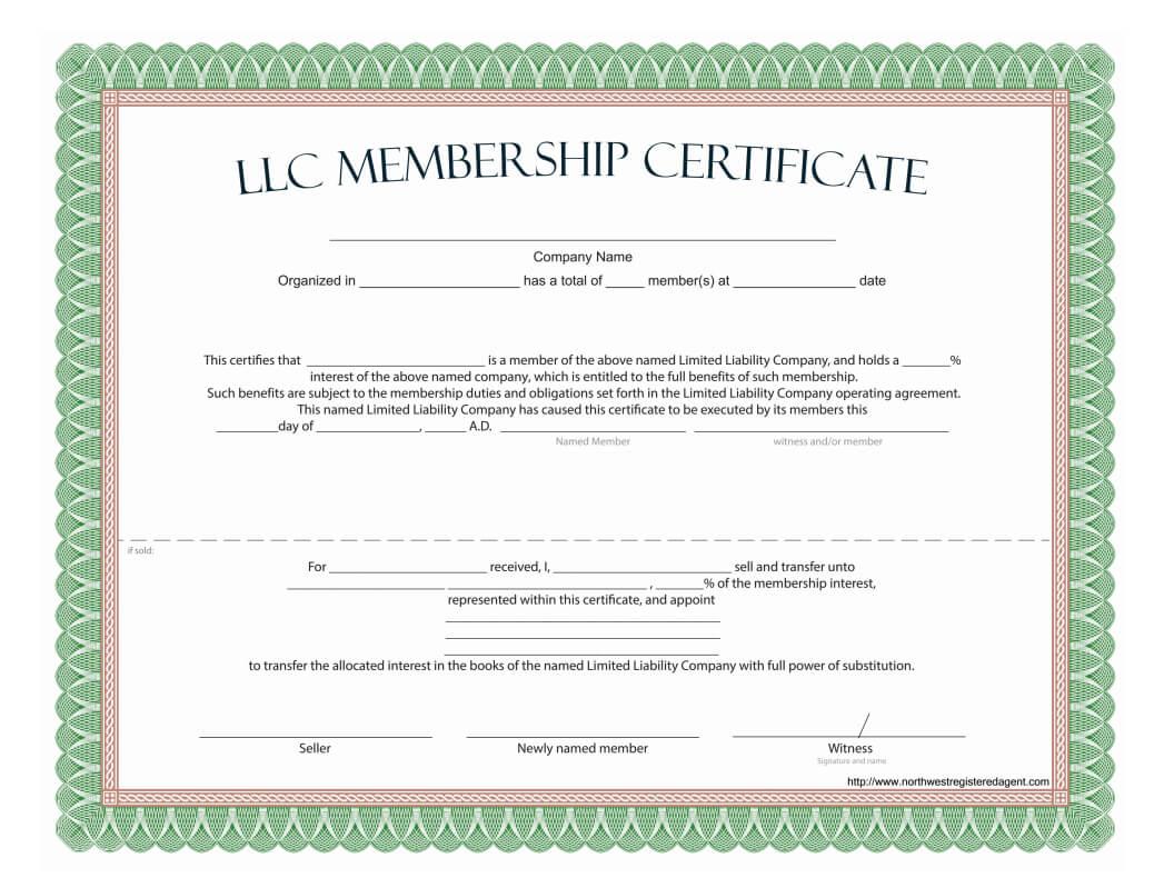 Llc Membership Certificate - Free Template inside Share Certificate Template Companies House