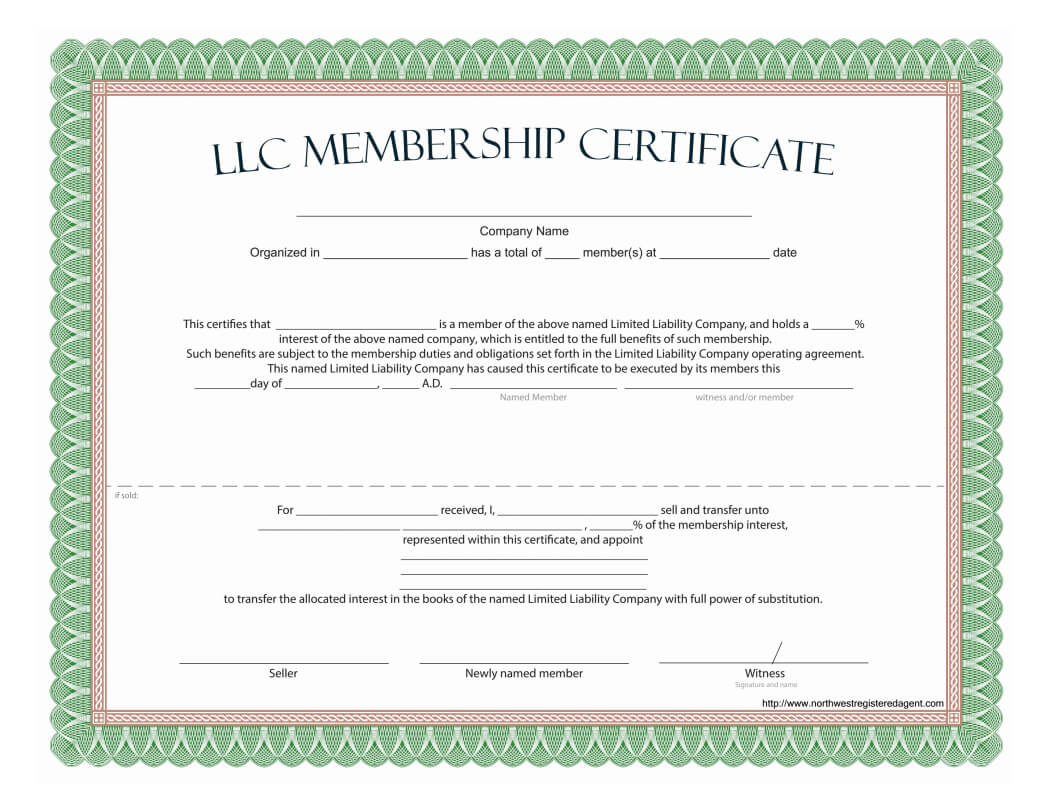 Llc Membership Certificate - Free Template intended for This Entitles The Bearer To Template Certificate
