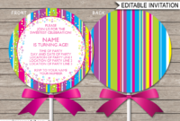 Lollipop Invitation Template – Pink regarding Blank Candyland Template