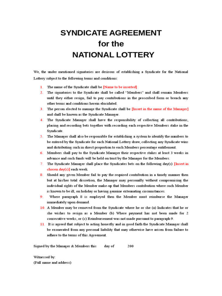 Lottery Syndicate Agreement Form - 6 Free Templates In Pdf In Lottery Syndicate Agreement Template Word