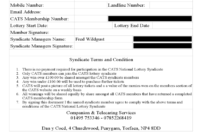 Lottery Syndicate Agreement Form – 6 Free Templates In Pdf throughout Lottery Syndicate Agreement Template Word
