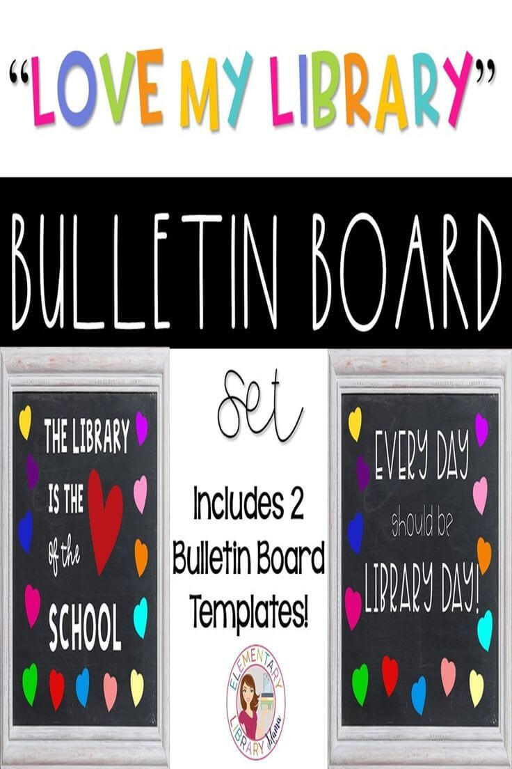"Love My Library"" Bulletin Board Templates   Clipart pertaining to Bulletin Board Template Word"