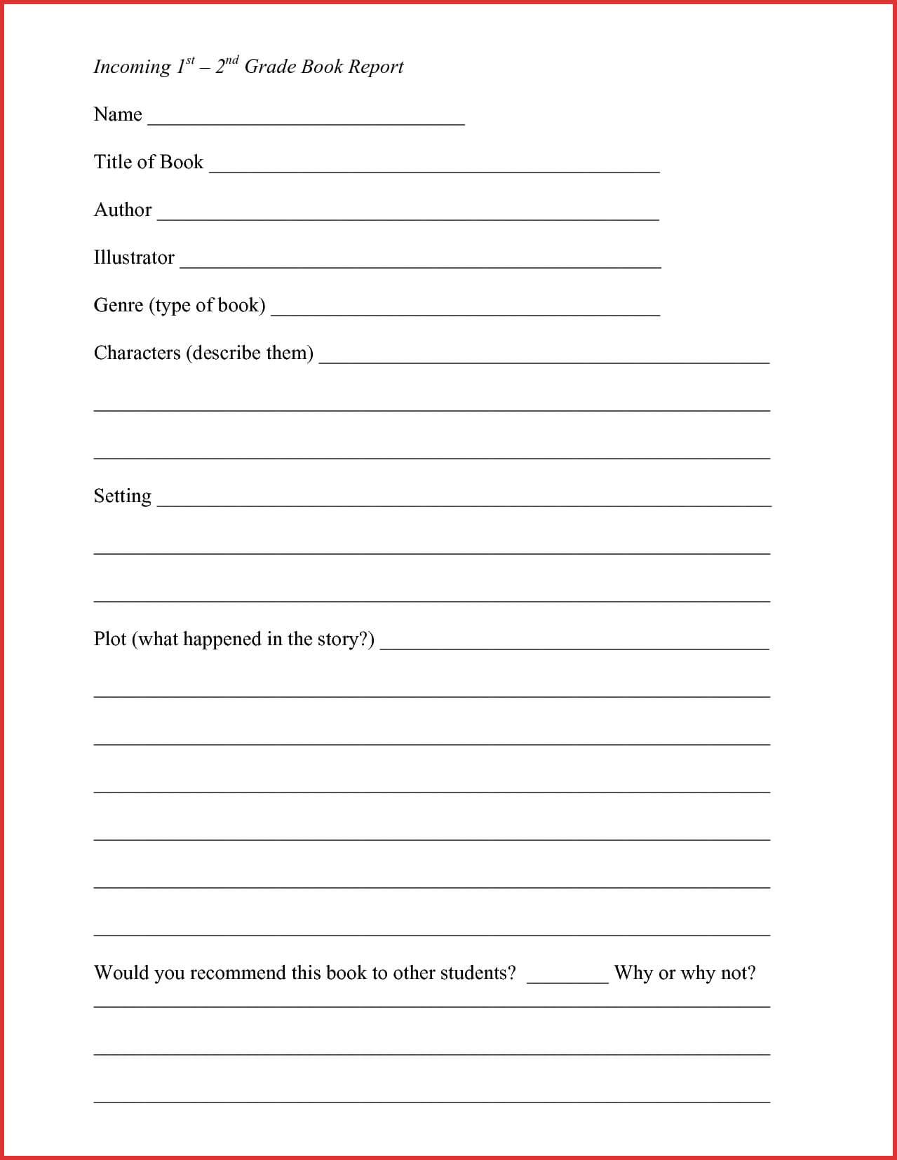 Lovely 2Nd Grade Book Report Template | Job Latter with 2Nd Grade Book Report Template