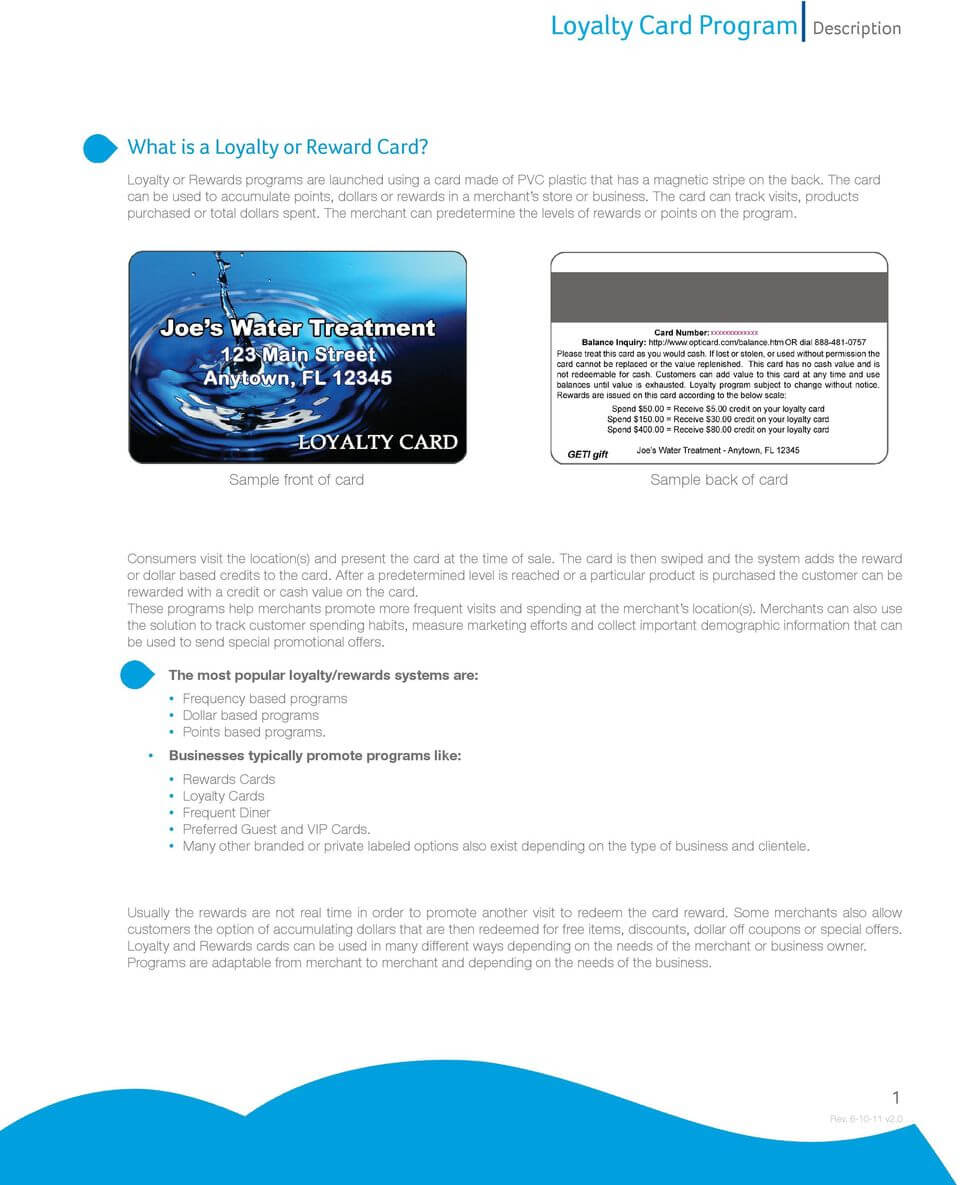 Loyalty Card Program Description - Pdf pertaining to Frequent Diner Card Template