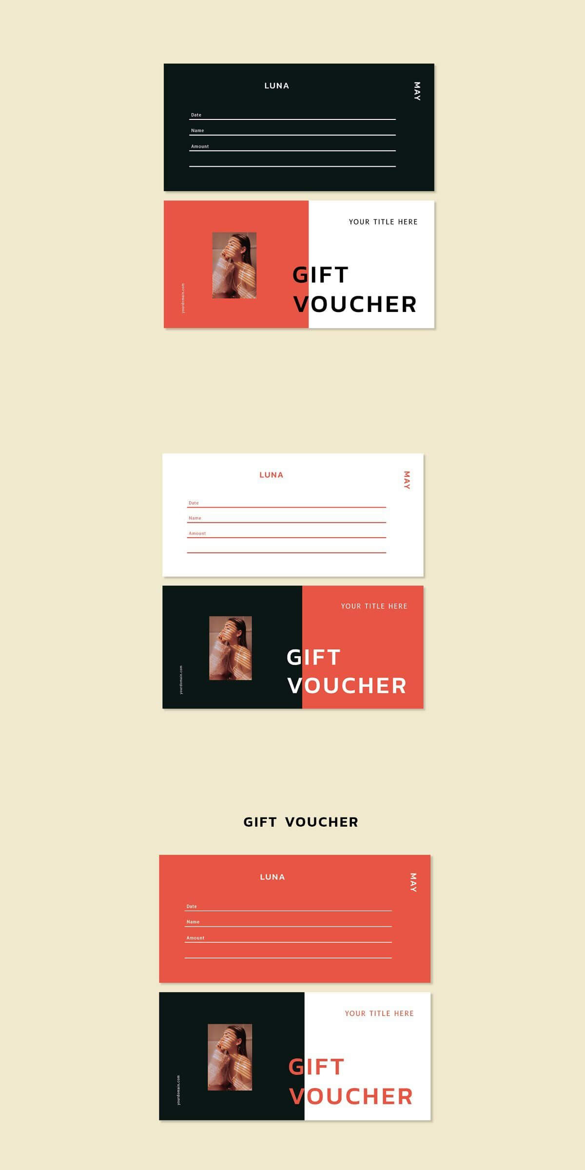 Luna May - Gift Voucher Template | Best Card Templates for Indesign Gift Certificate Template