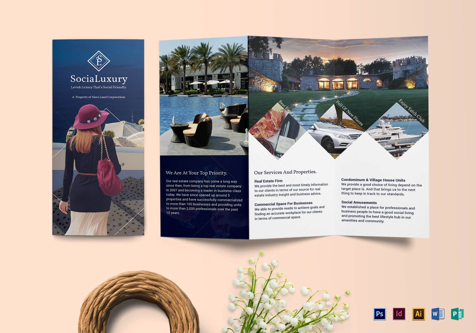 Luxury Brochure Tri Fold Template Throughout Tri Fold Brochure Publisher Template