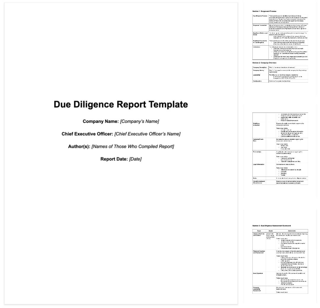 M&a Due Diligence Report [Sample Template + Excel Checklist] Throughout Vendor Due Diligence Report Template