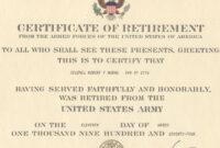 Major Robert F. Burns – Army Retirement Certificate For inside Retirement Certificate Template