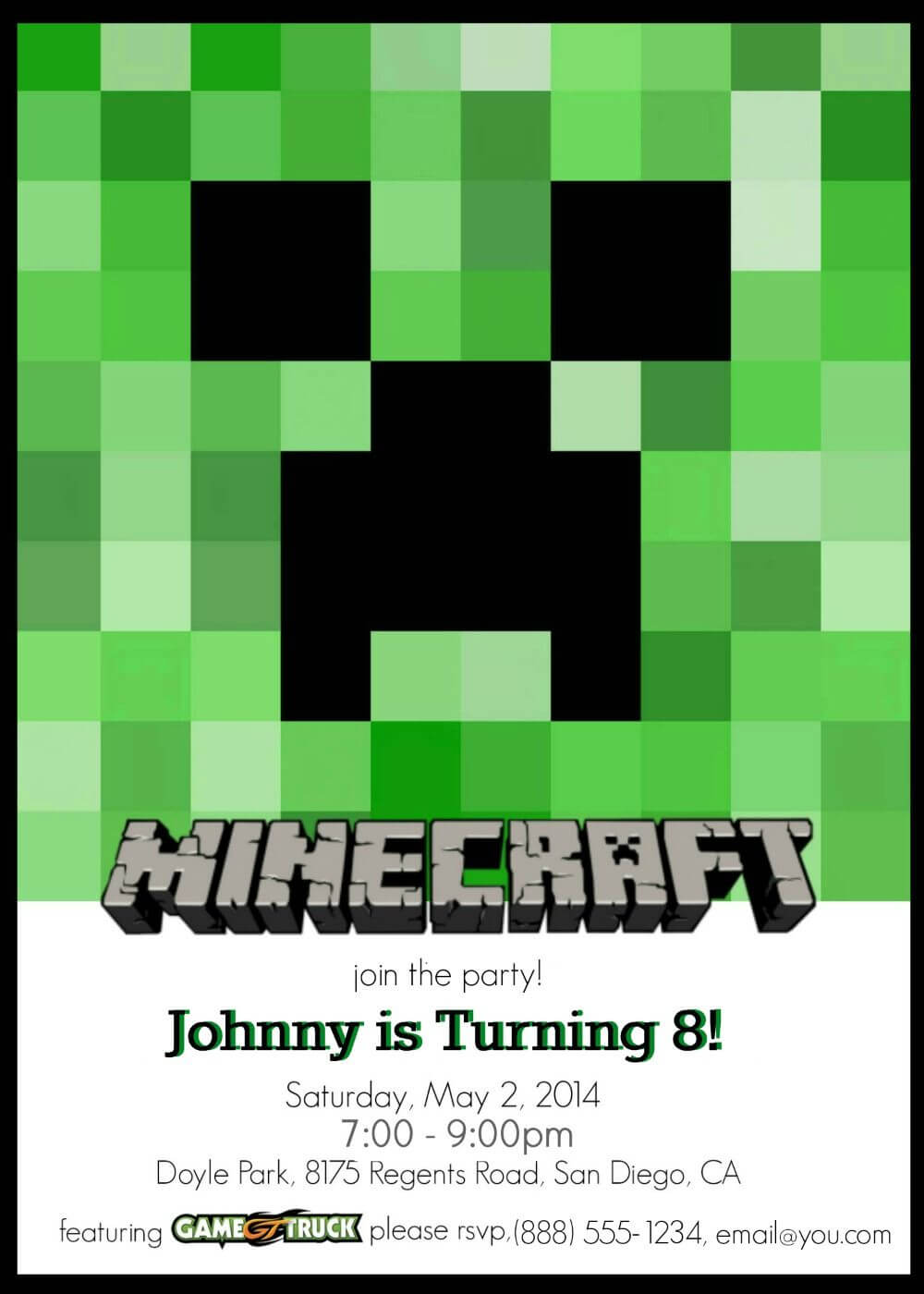 Make Your Own Custom Printable Minecraft Party Invitations intended for Minecraft Birthday Card Template
