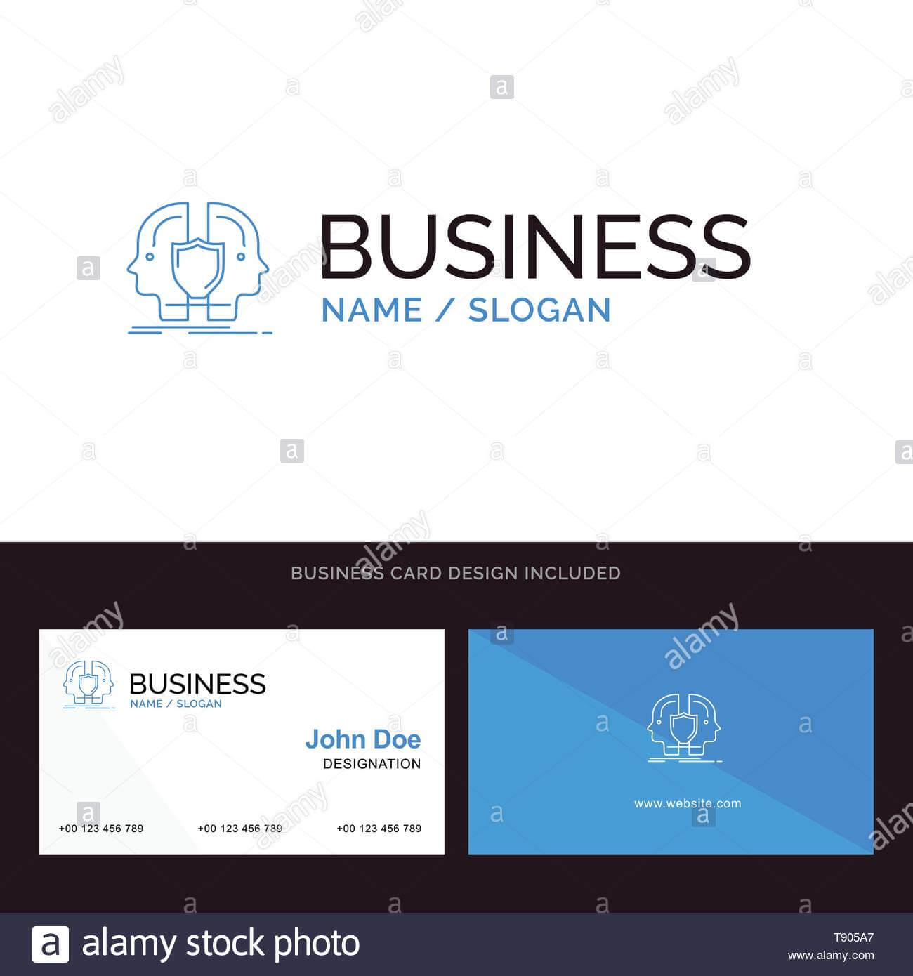 Man, Face, Dual, Identity, Shield Blue Business Logo And regarding Shield Id Card Template
