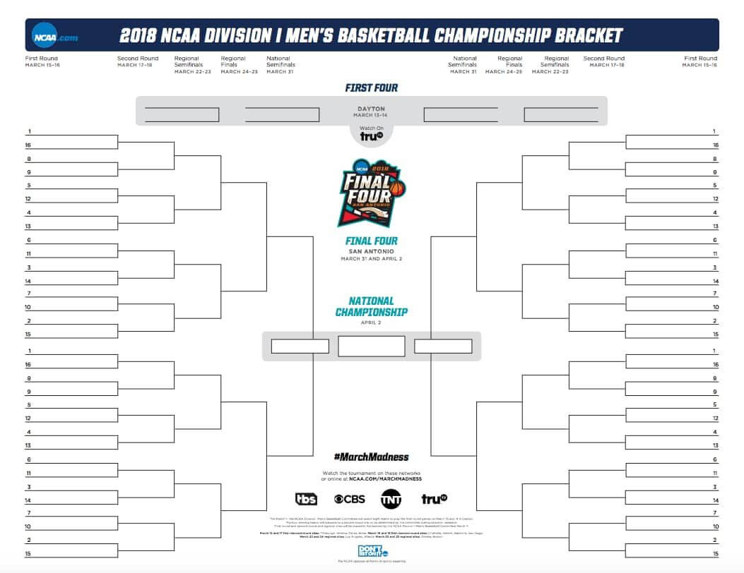 March Madness Bracket 2018: Official And Printable .pdf For regarding Blank March Madness Bracket Template