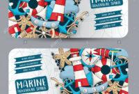 Marine Nautical Travel Concept. Horizontal Banner Template intended for Nautical Banner Template