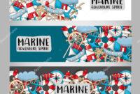 Marine Nautical Travel Concept Horizontal Banner Template regarding Nautical Banner Template