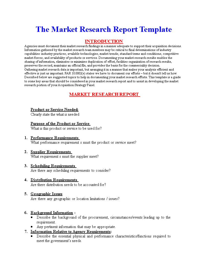 Market Research Report Format | Templates At In Market Research Report Template