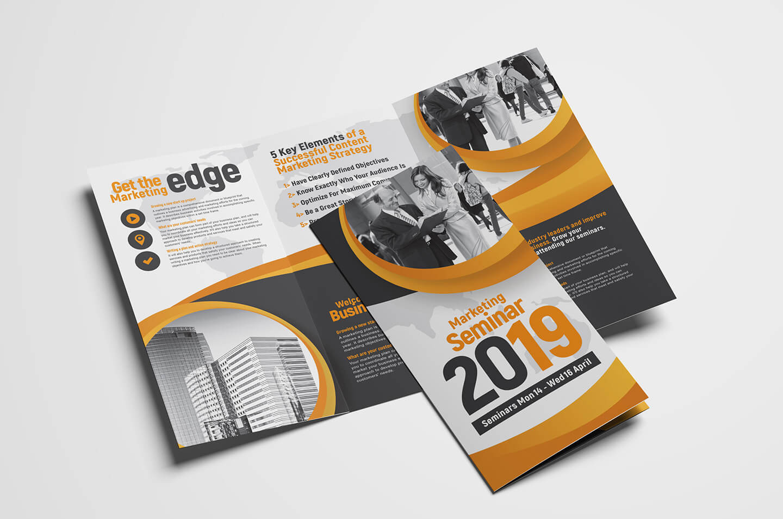 Marketing Seminar Tri-Fold Brochure Template - Psd, Ai & Vector for Brochure Psd Template 3 Fold
