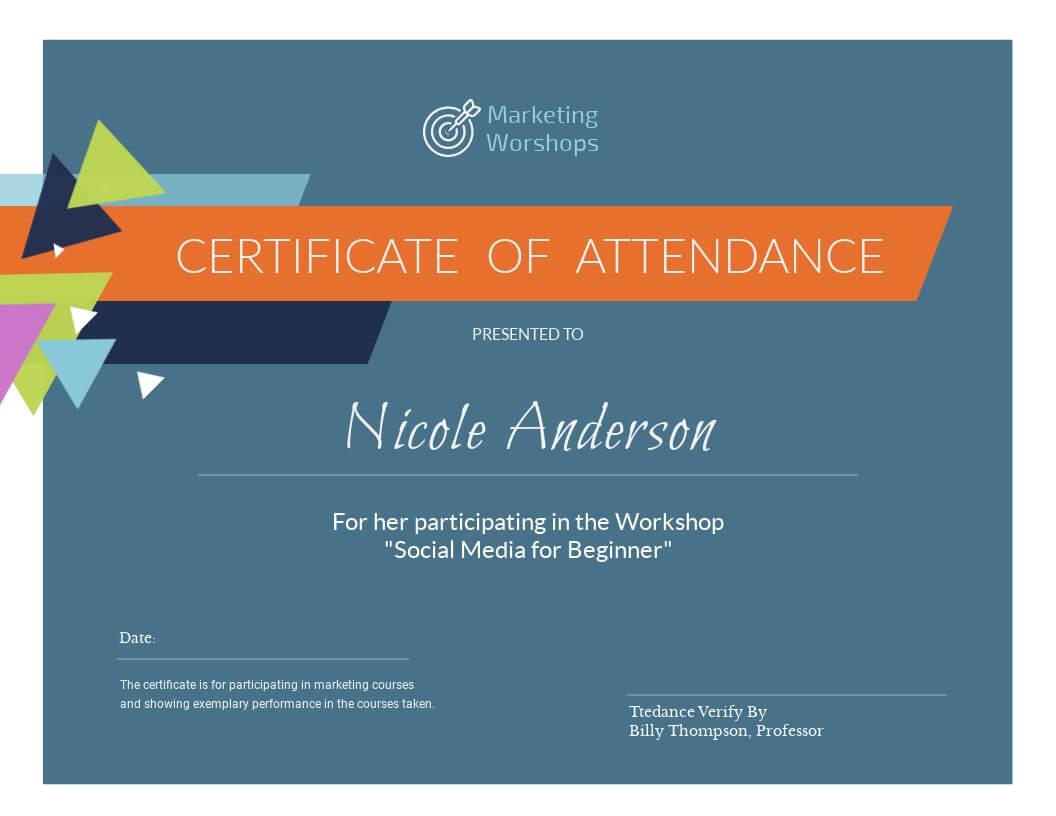 Marketing Workshop - Certificate Template - Visme Throughout Workshop Certificate Template